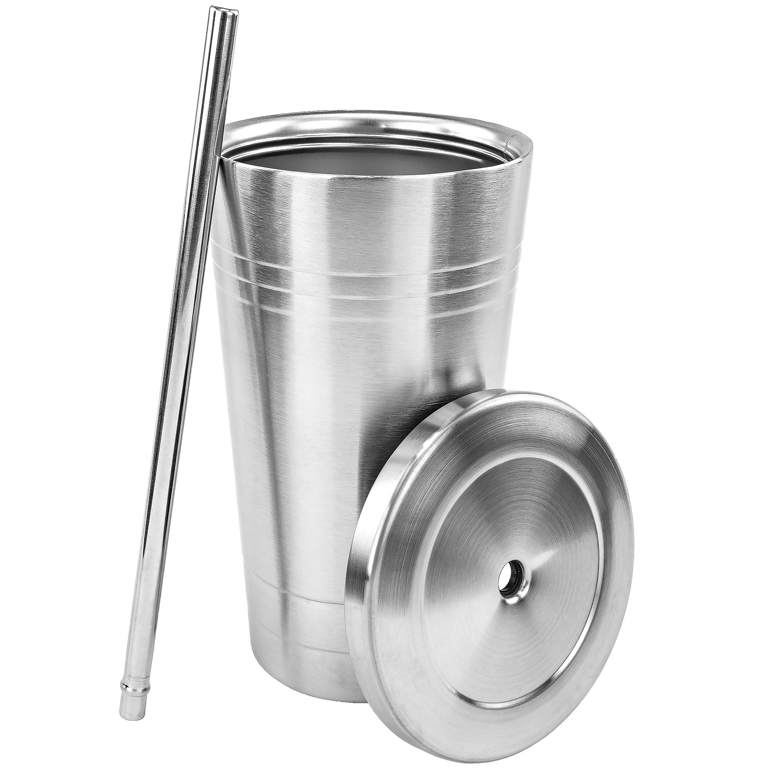 Stainless Steel Double Walled Insulated Cup With Straw and Lid