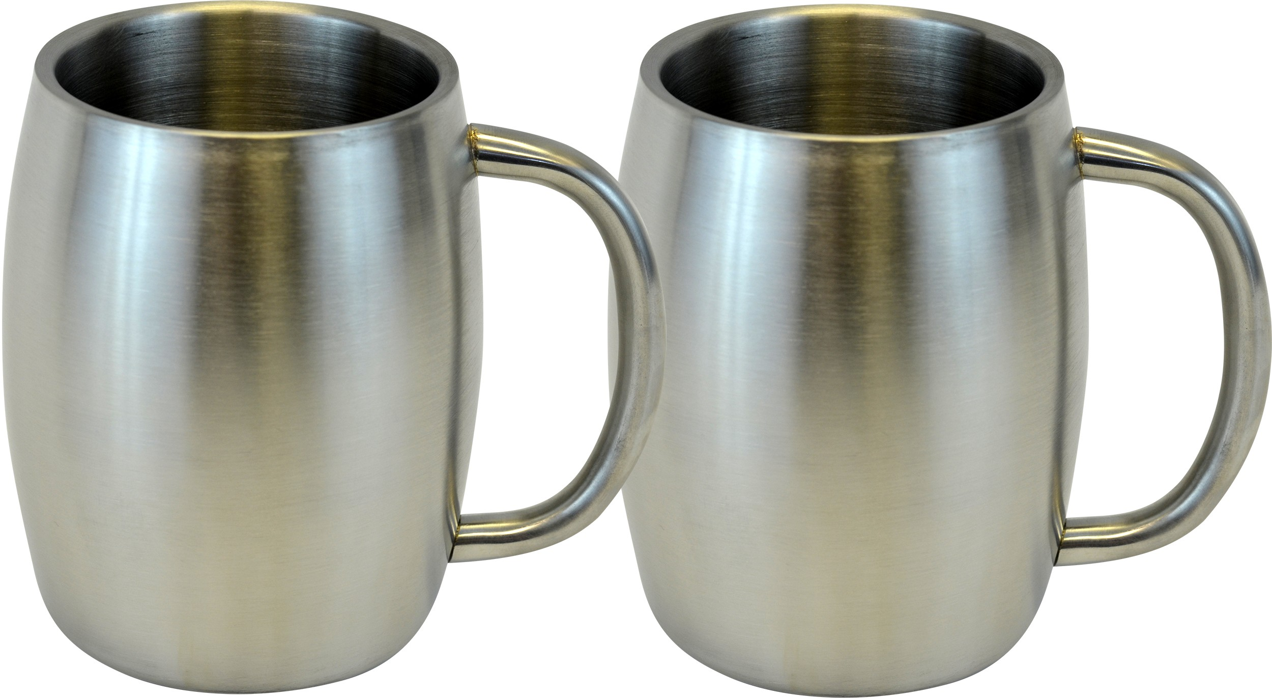 Stainless Double Wall Steel Beer / Coffee / Desk Mug, Smooth 14-Ounce, Set of 2
