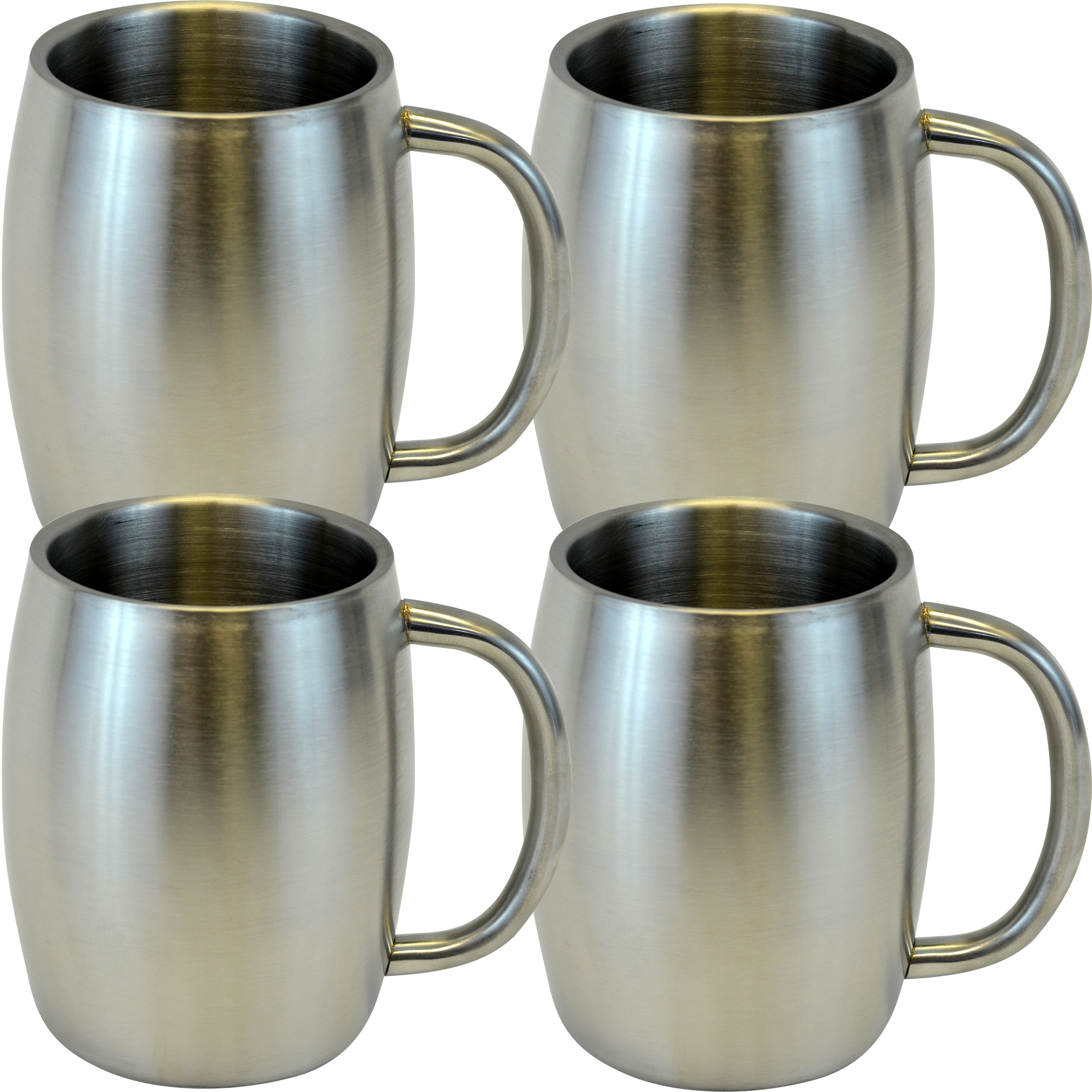 Stainless Double Wall Steel Beer / Coffee / Desk Mug, Smooth 14-Ounce, Set of 4