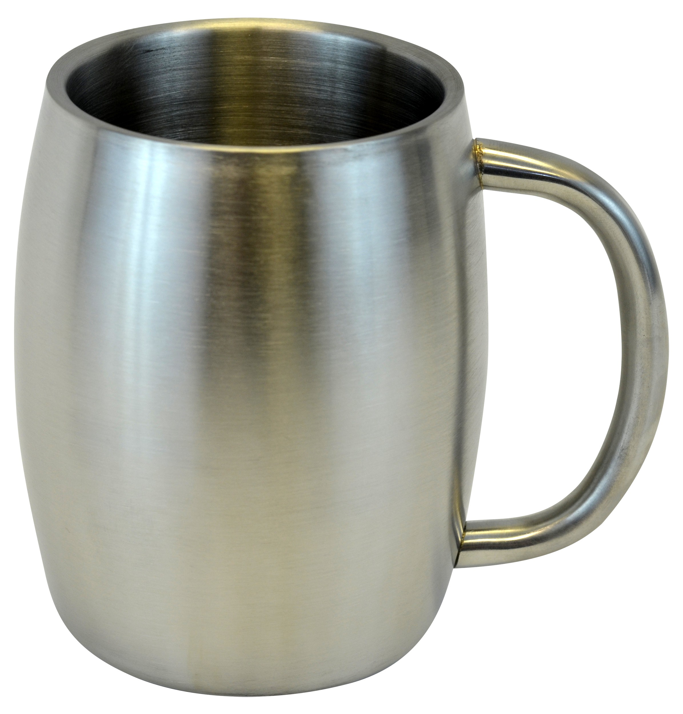 Stainless Double Wall Steel Beer / Coffee / Desk Mug, Smooth 14-Ounce