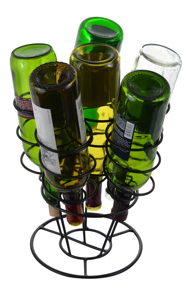 6 Bottle Bouquet Wine Rack, Black