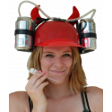 Beer & Soda Guzzler Helmet & Drinking Hat, Red With Devil Horns