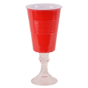Red Cup Wine Glass - Hard Plastic - 16oz