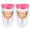 Pink Insulated Wine Tumbler - Double Wall Acrylic 2 Pack