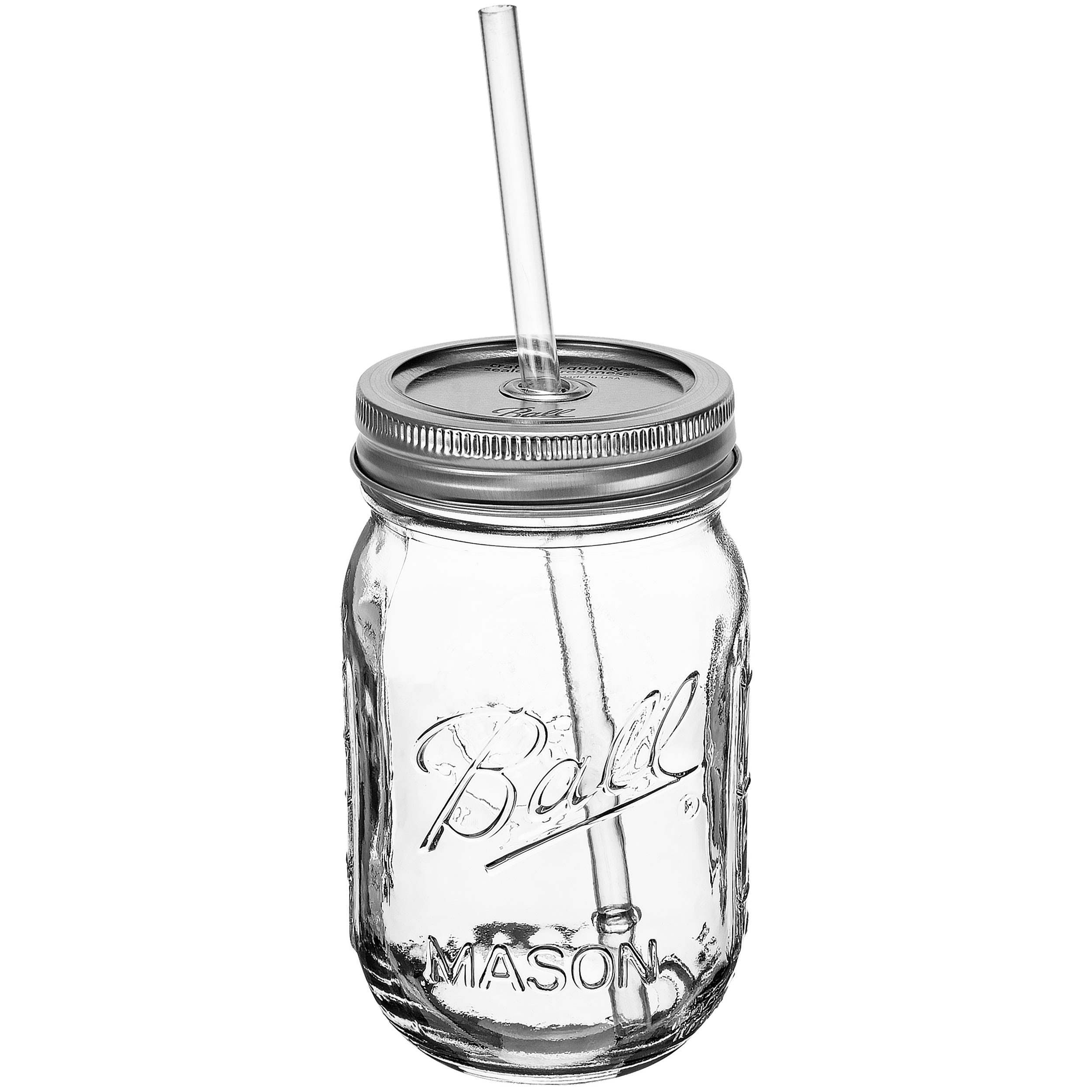 Mason Jar Sipper Drinking Glass 16oz