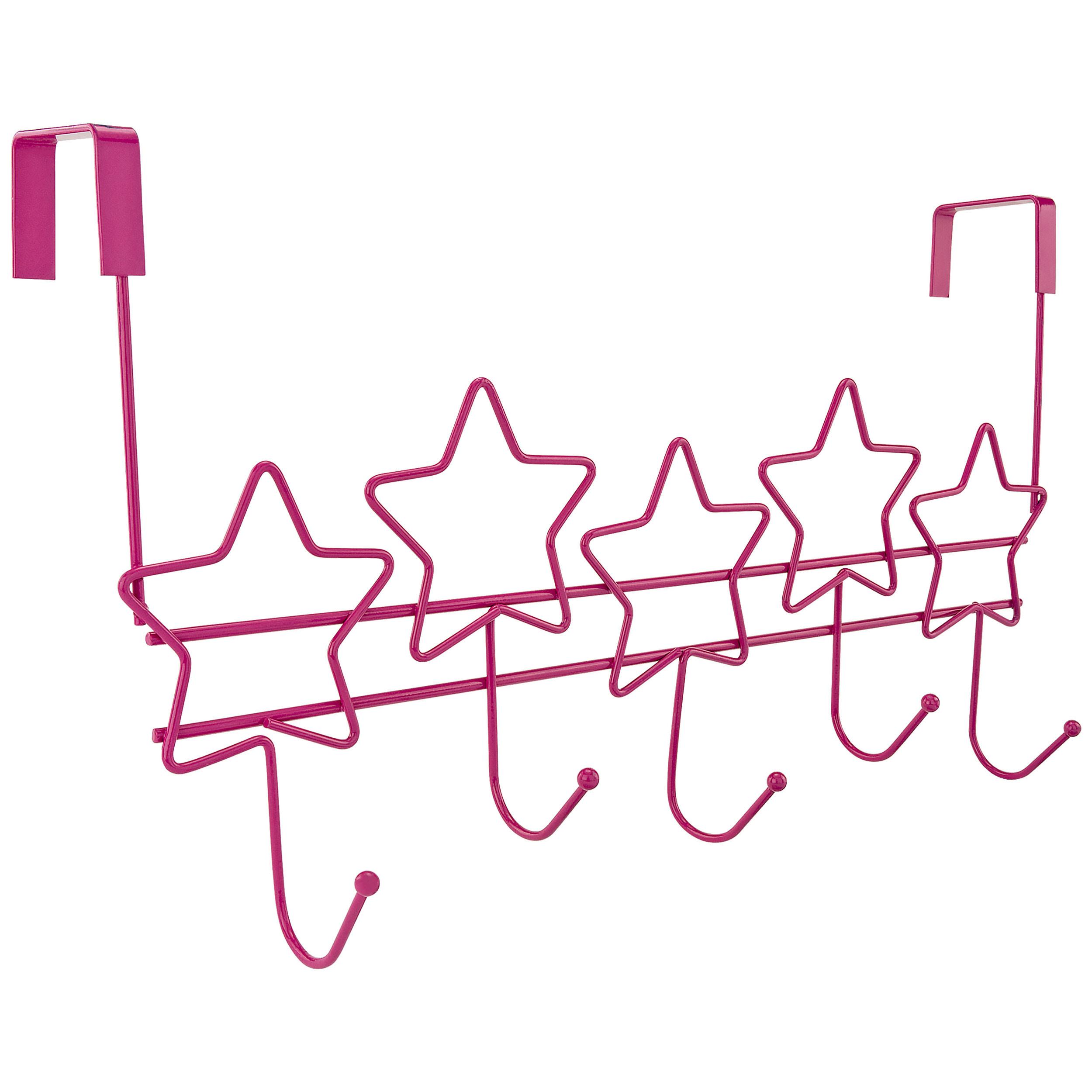 Over The Door 5 Hanger Hooks Storage Organizer Rack, Pink Stars
