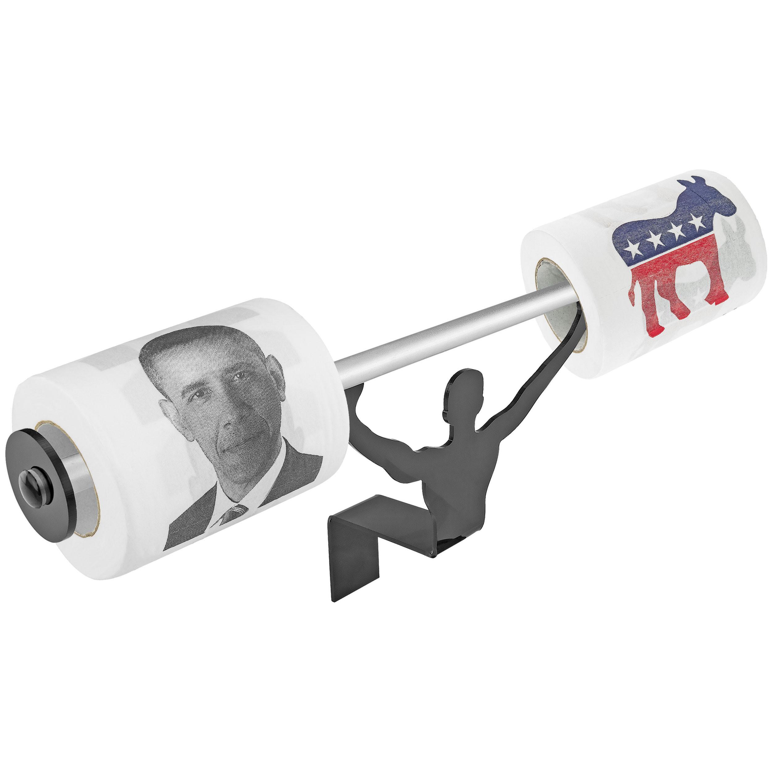 Fairly Odd Novelties Barack Obama & Democrat Logo Novelty Toilet Paper w/Strong Man Holder Funny Liberal Gift Set