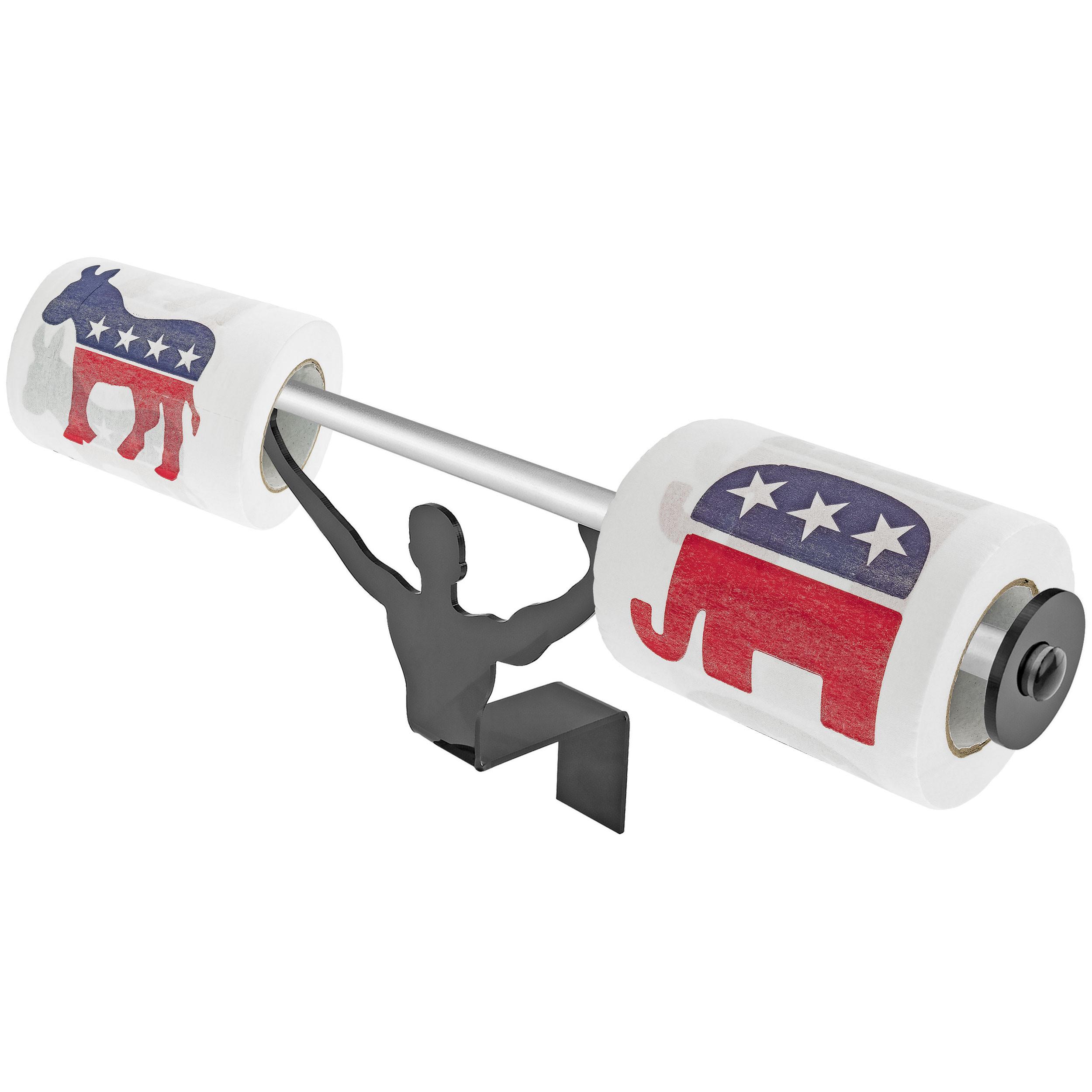 Fairly Odd Novelties Republican & Democrat Logos Novelty Toilet Paper w/Strong Man Holder Funny Politics Gift Set