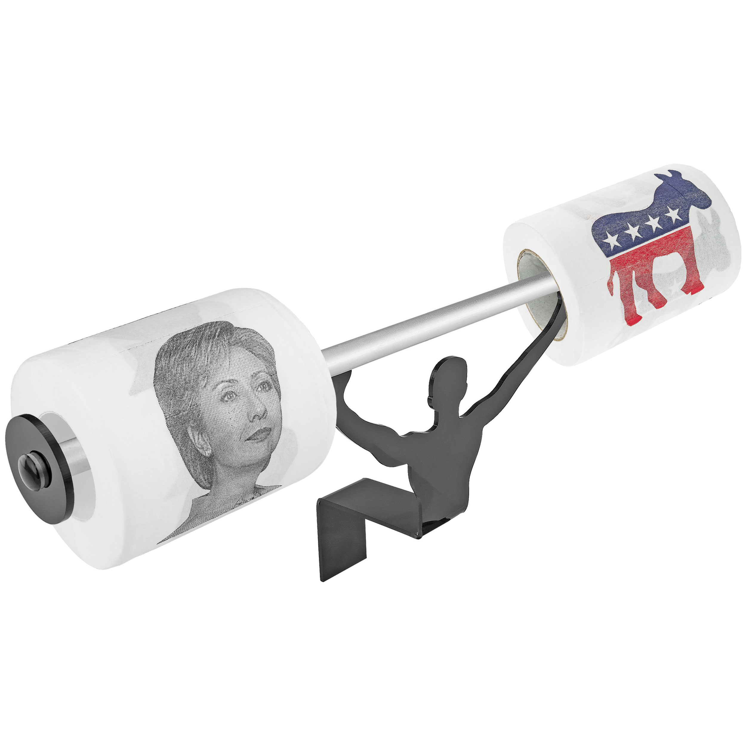 Fairly Odd Novelties Hillary Clinton Toilet Paper W/Strong Man Holder Democrats Political Gift Set