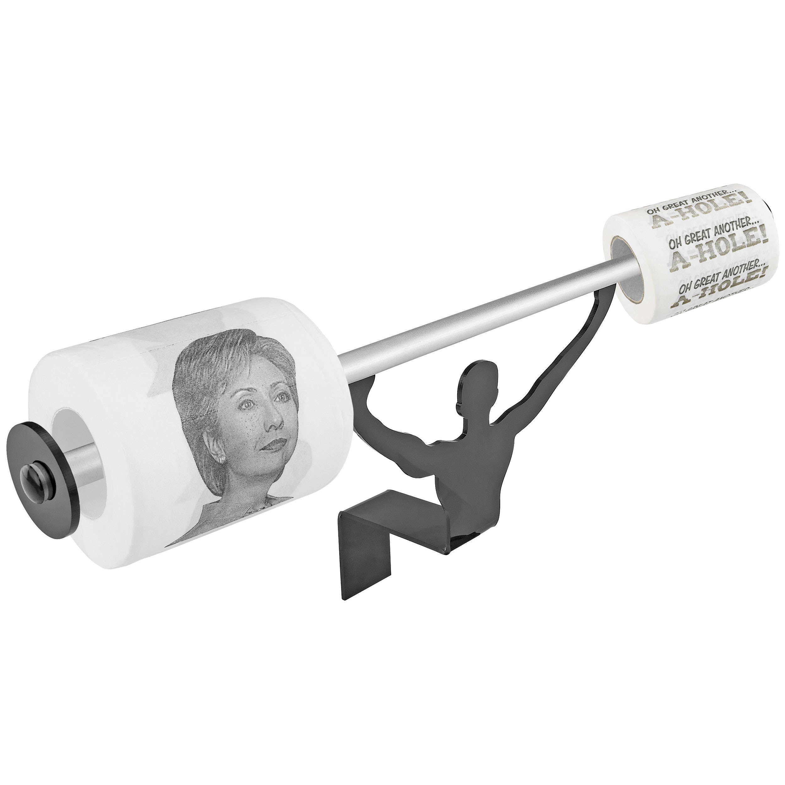 Fairly Odd Novelties Hillary Clinton & Another A-Hole Novelty Toilet Paper w/Strong Man Holder Funny Liberal Gift Set