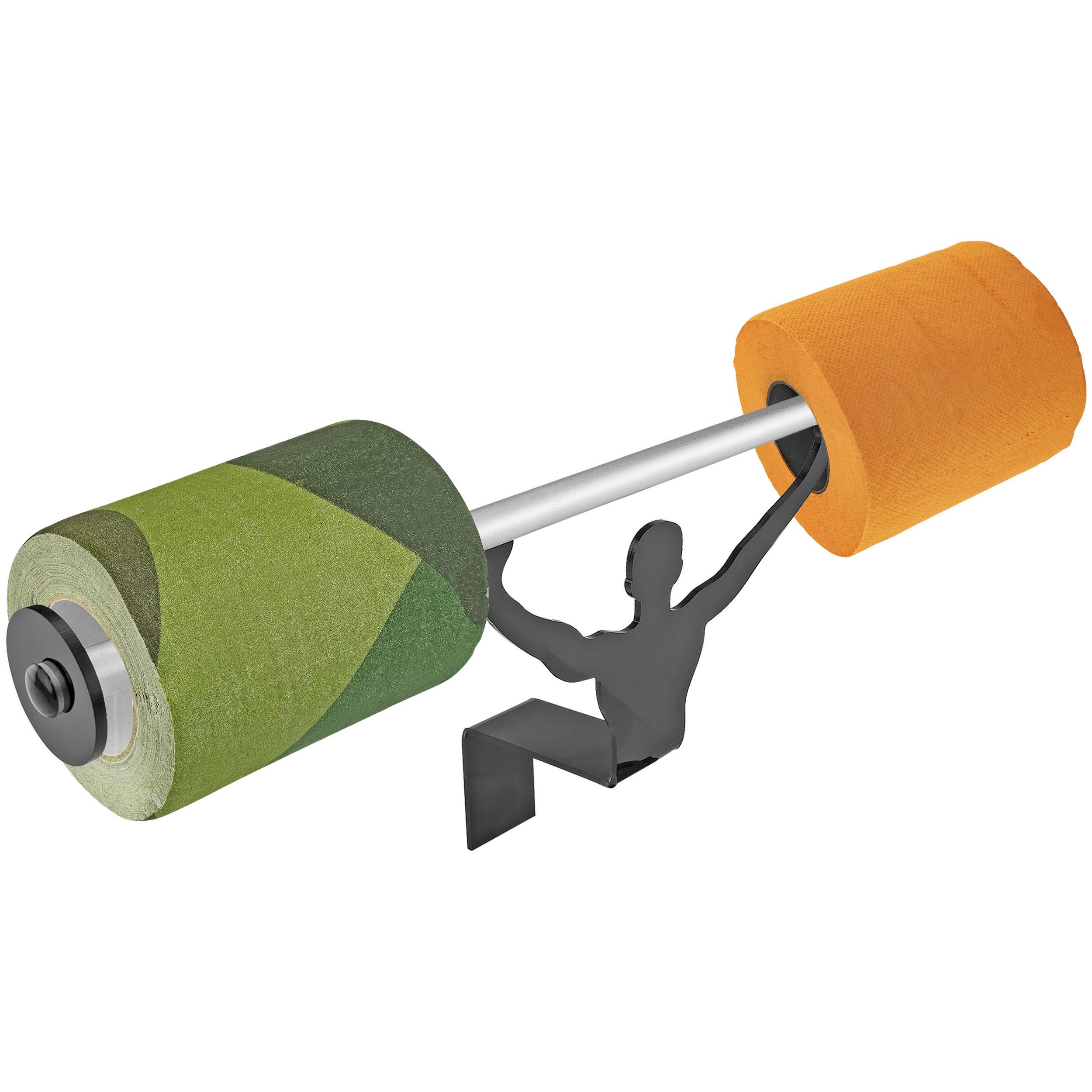 Fairly Odd Novelties FON-10153 Camo & Blaze Toilet Paper W/Strong Man Holder Hunter Gift Set, Camo/Blaze Orange