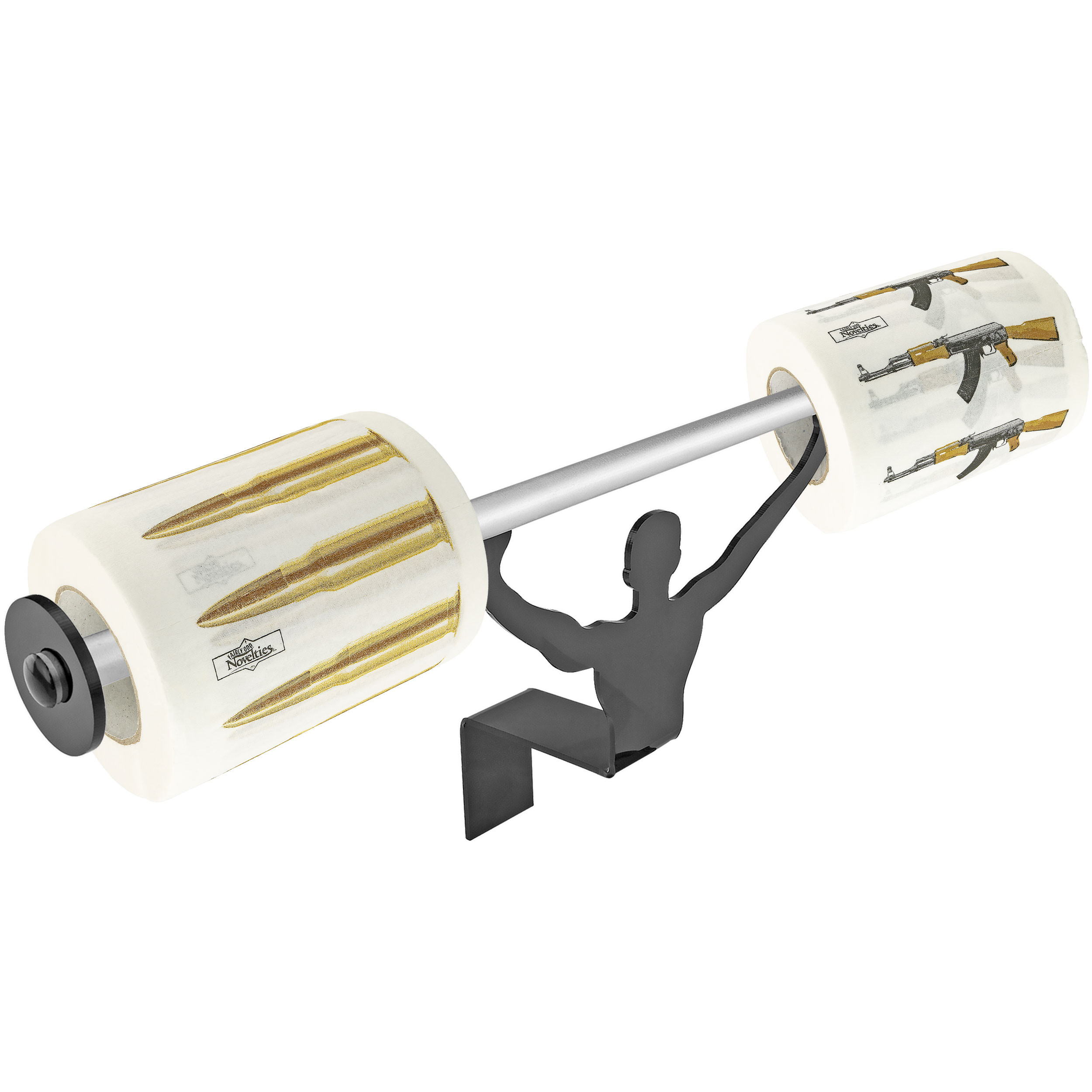 Fairly Odd Novelties AK47 Gun and Bullets Toilet Paper with Strong Man Holder Gift Set