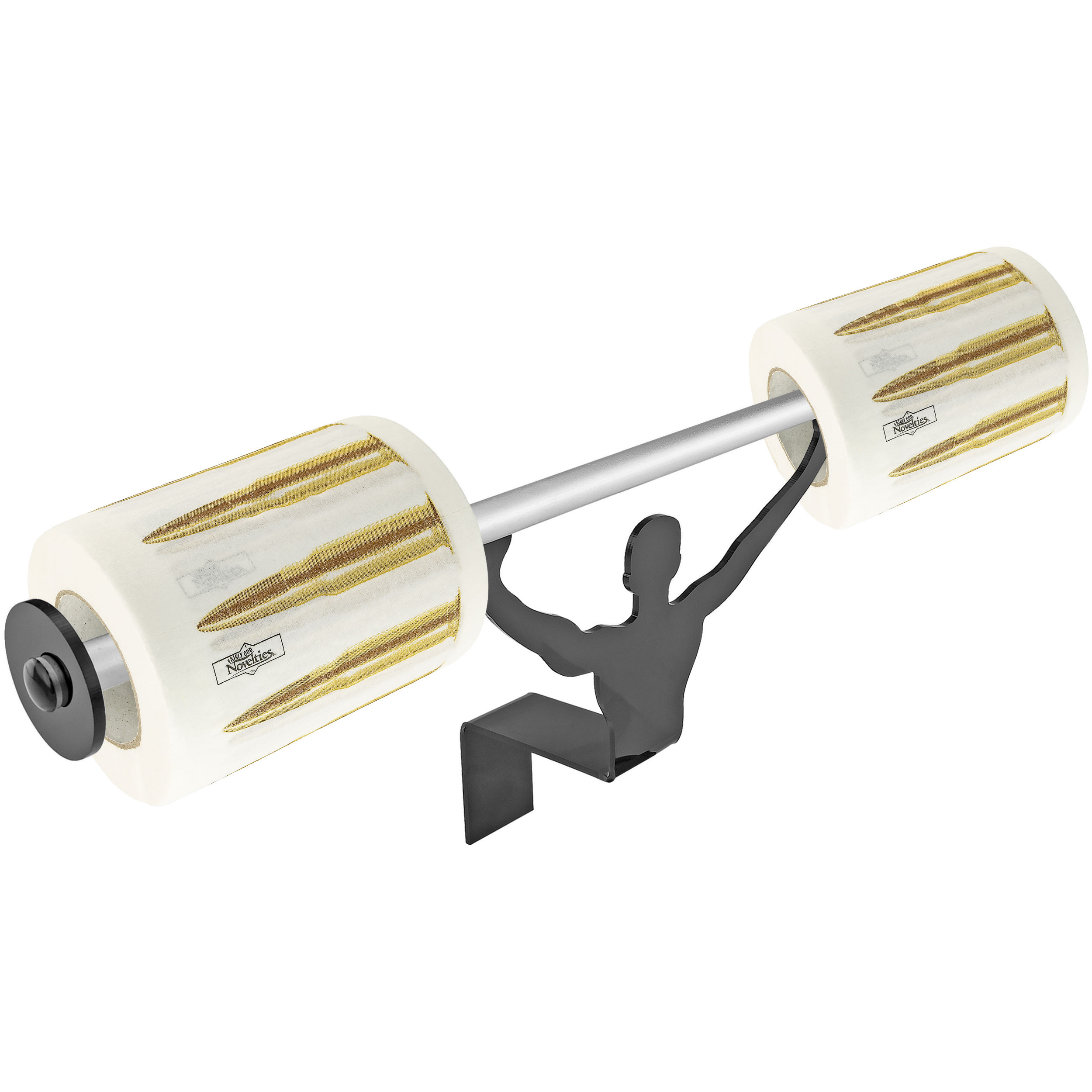 Fairly Odd Novelties AK47 Bullets Toilet Paper with Strong Man Holder Gift Set
