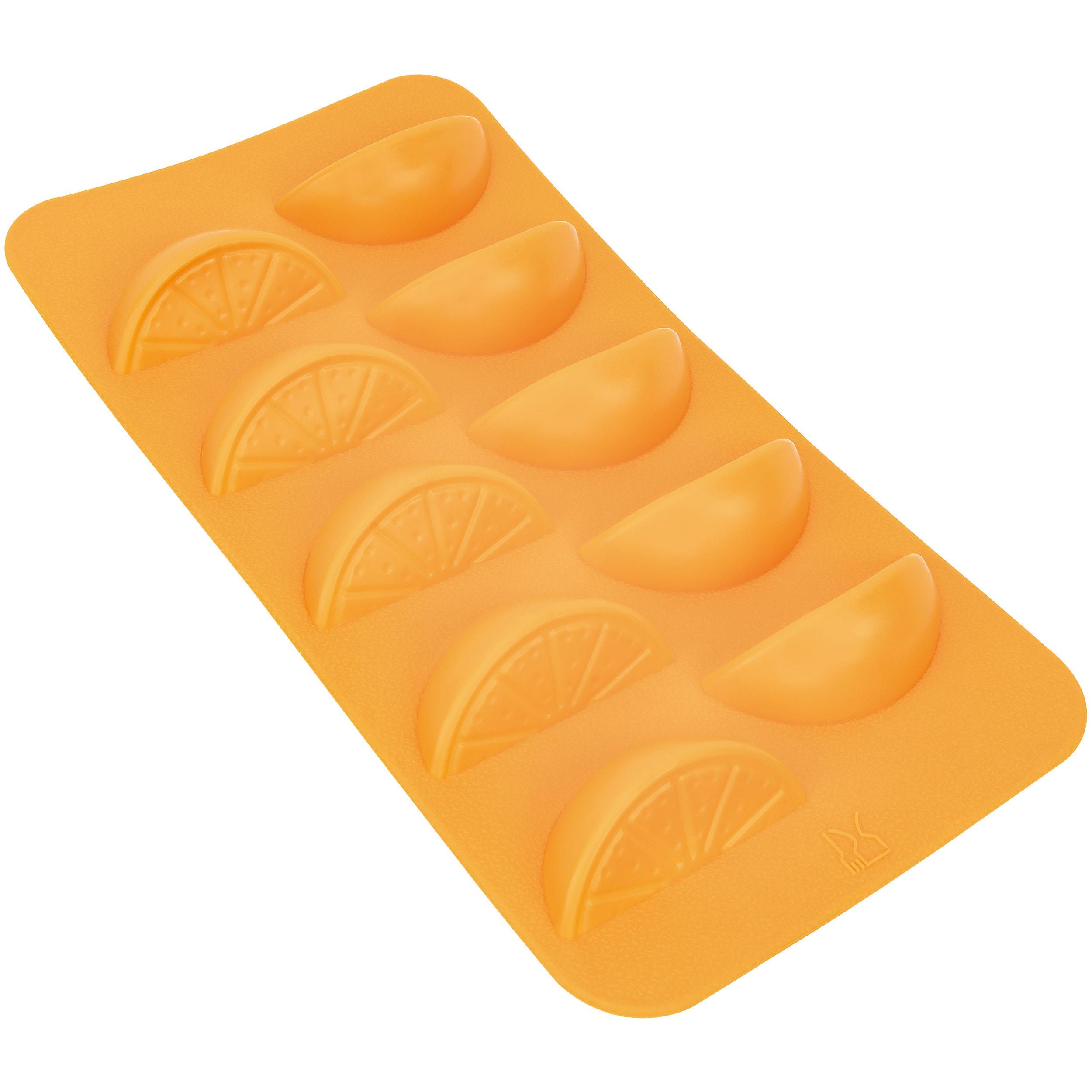 Fairly Odd Novelties FON-10172 Slice Shape Flexible 10 Ice Cube Tray Mold Orange Silicone Novelty Gag Gift, One Size