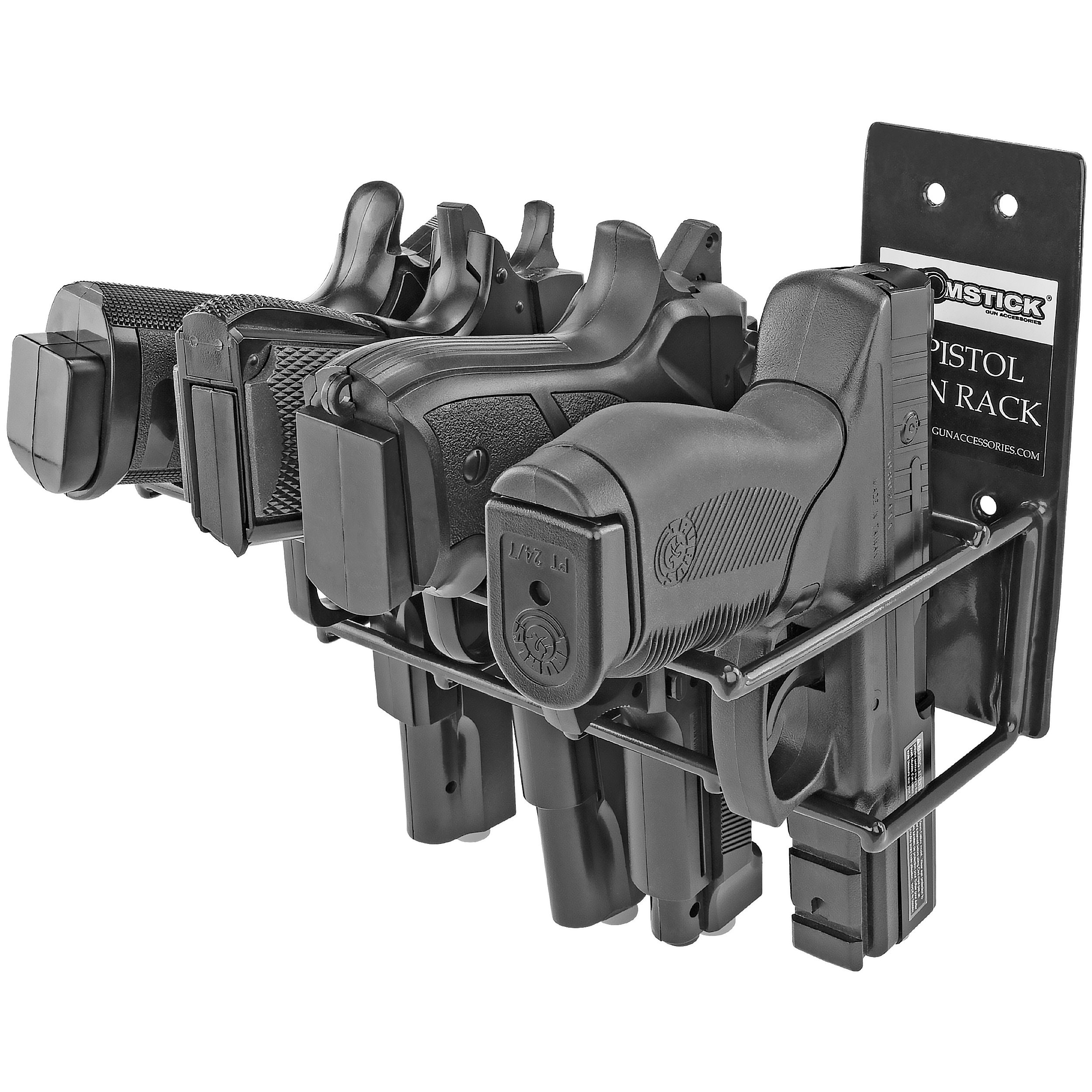 BOOMSTICK Gun Accessories 4 Gun Handgun Black Vinyl Coated Pistol Wall Mount Rack
