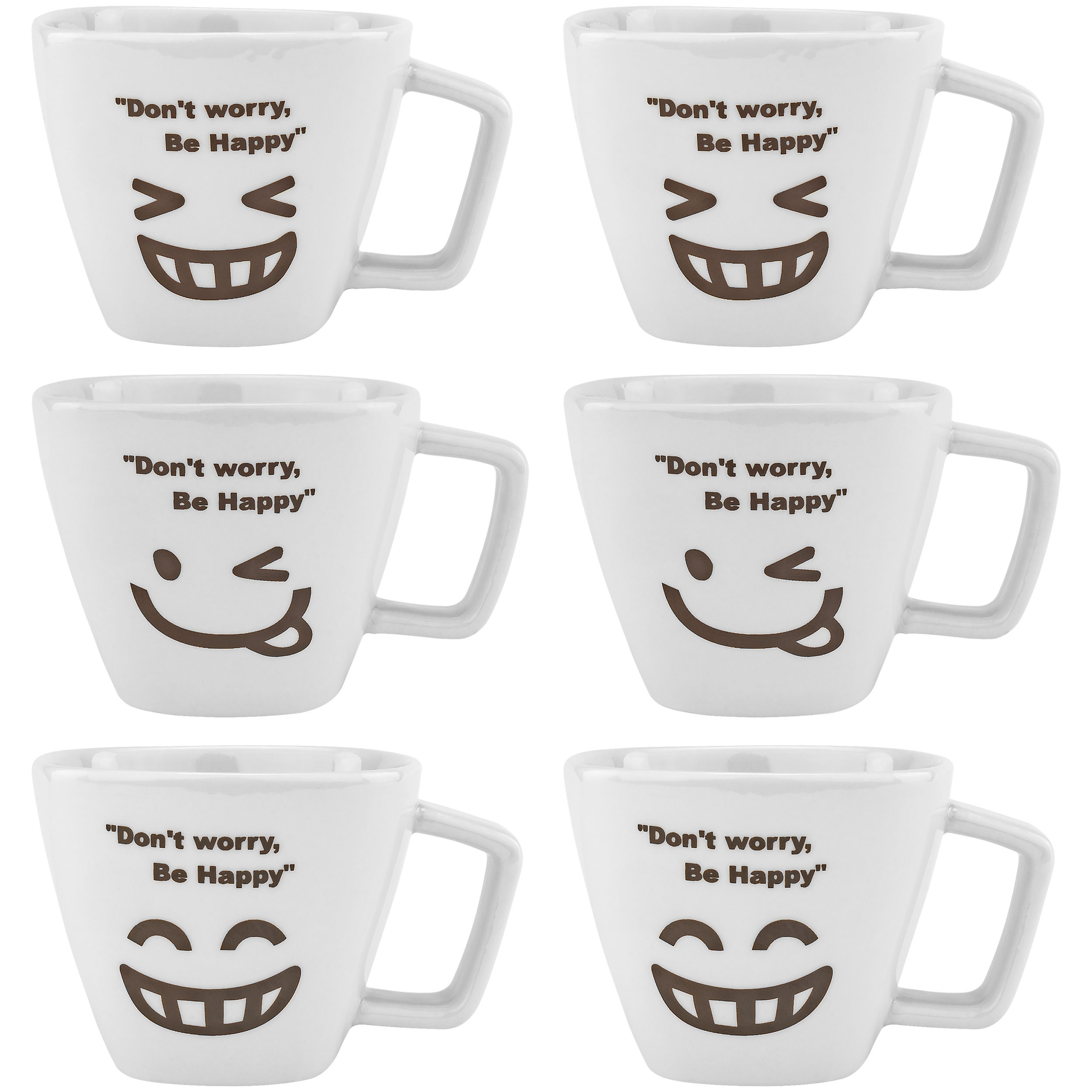 Don't Worry, Be Happy Man Ceramic Tea Cup Face, Set of 6