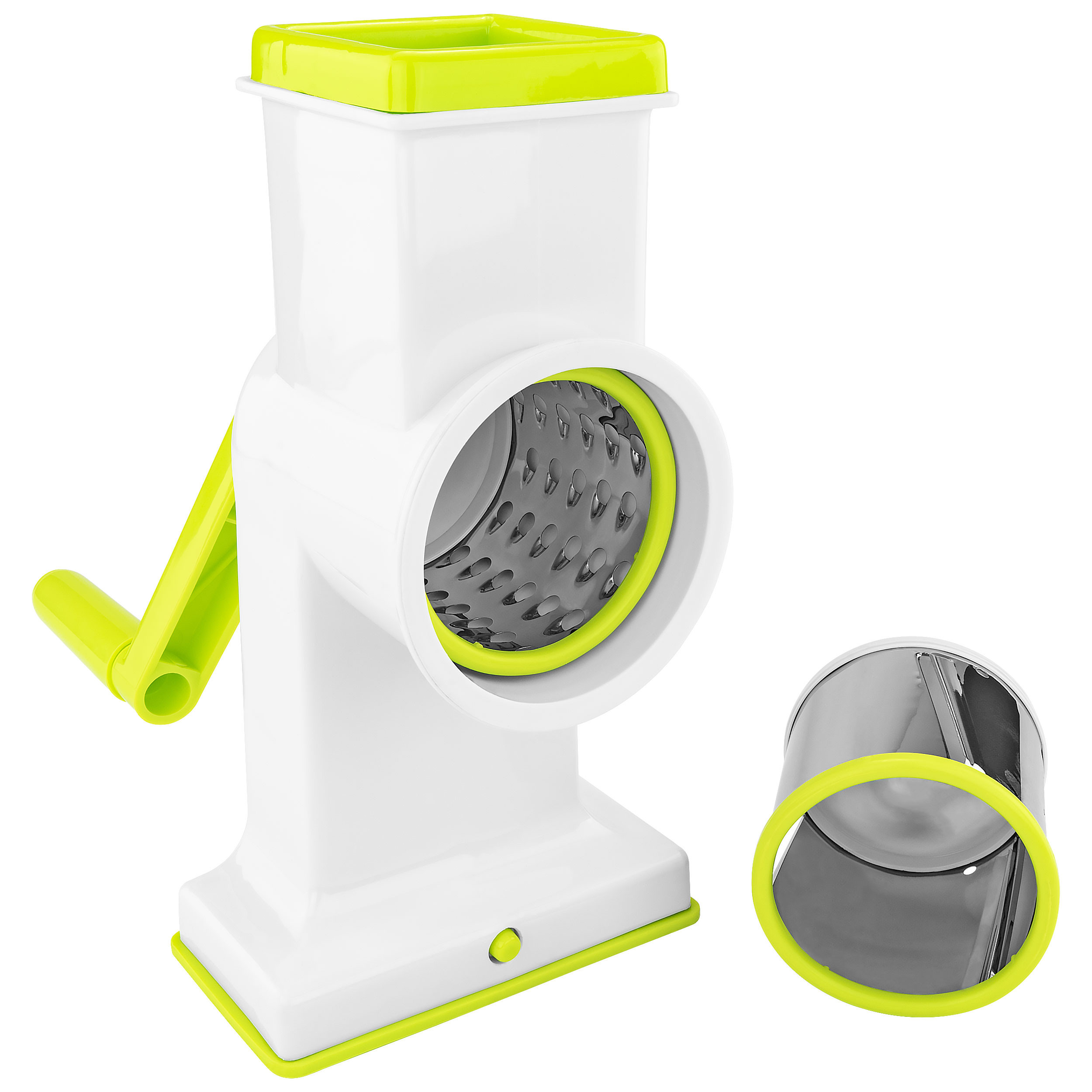 2 in 1 Deluxe Hand Crank Rotary Drum Grater Shredder Slicer Kitchen Gadget Tool for Cheese Fruits Nuts Vegetables Chocolate