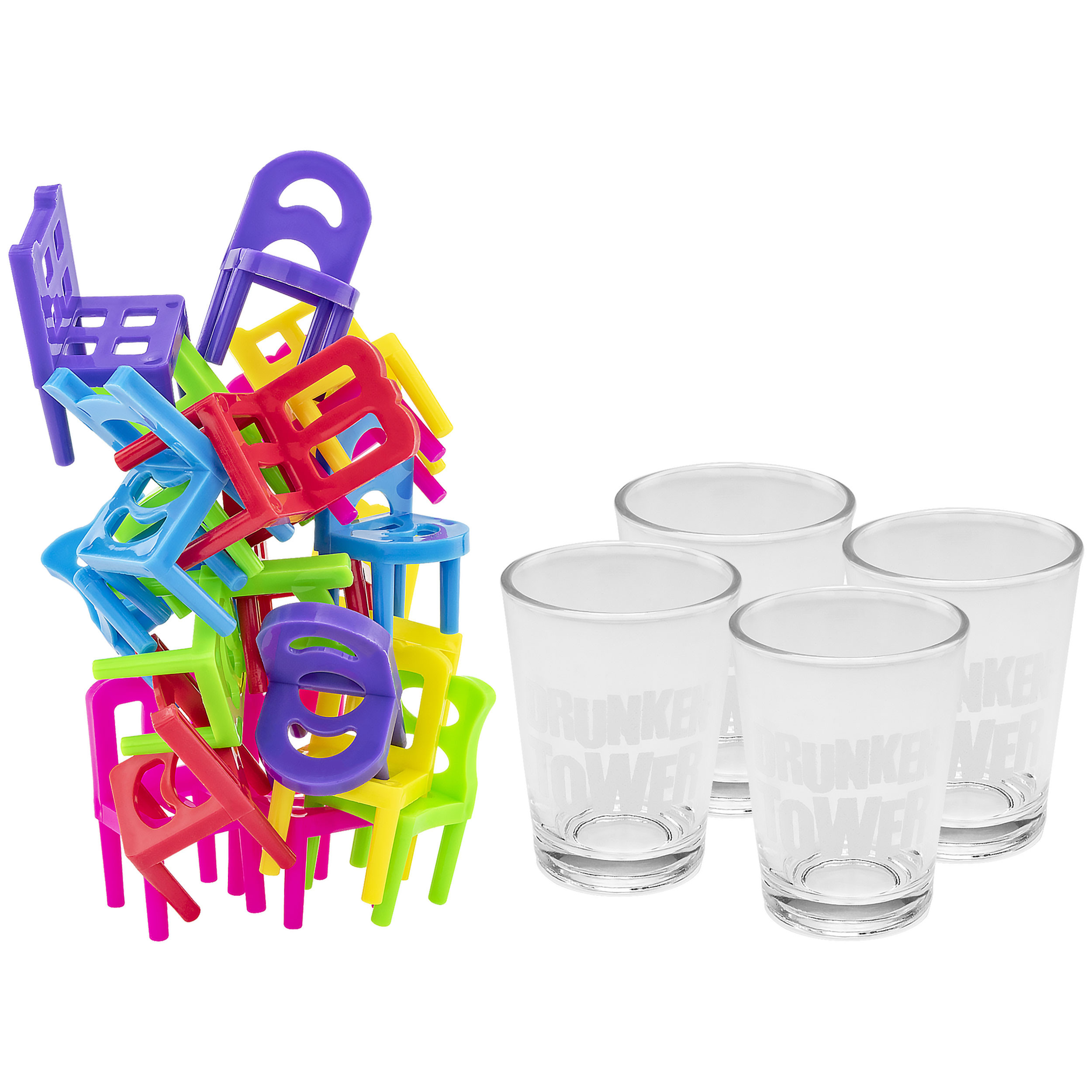 Fairly Odd Novelties Drunken Balance Stacking Drinking Game Includes 4 Shot Glasses 18 Chairs, 2oz, Clear