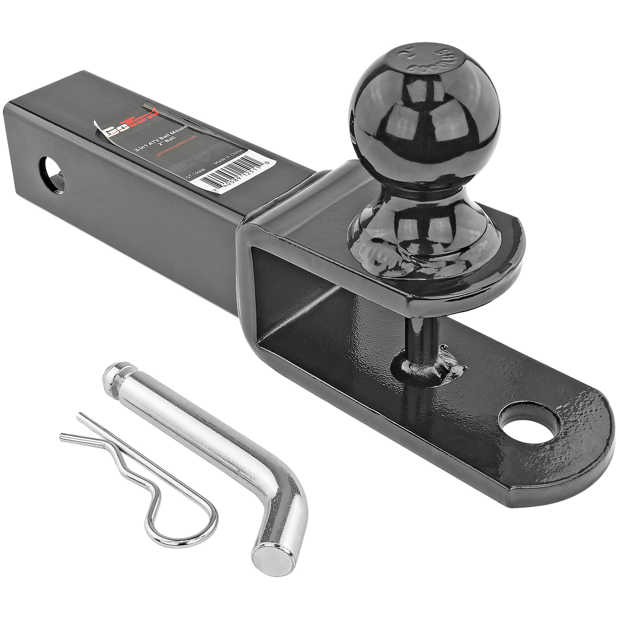 """3 In 1 ATV Ball Mount, With 2"""" Ball With Pin & Clip"""
