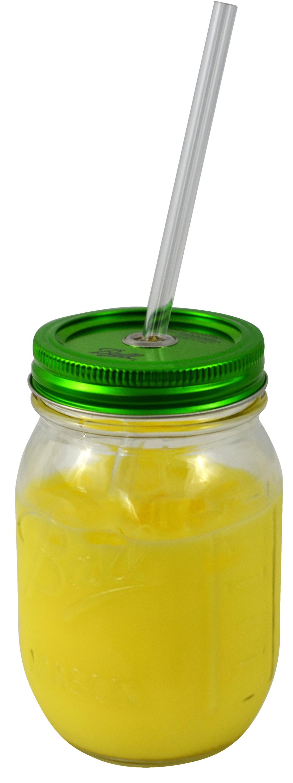 Redneck Sipper Drinking Jar 16oz Ball Mason Jar Acrylic Straw Green Lid