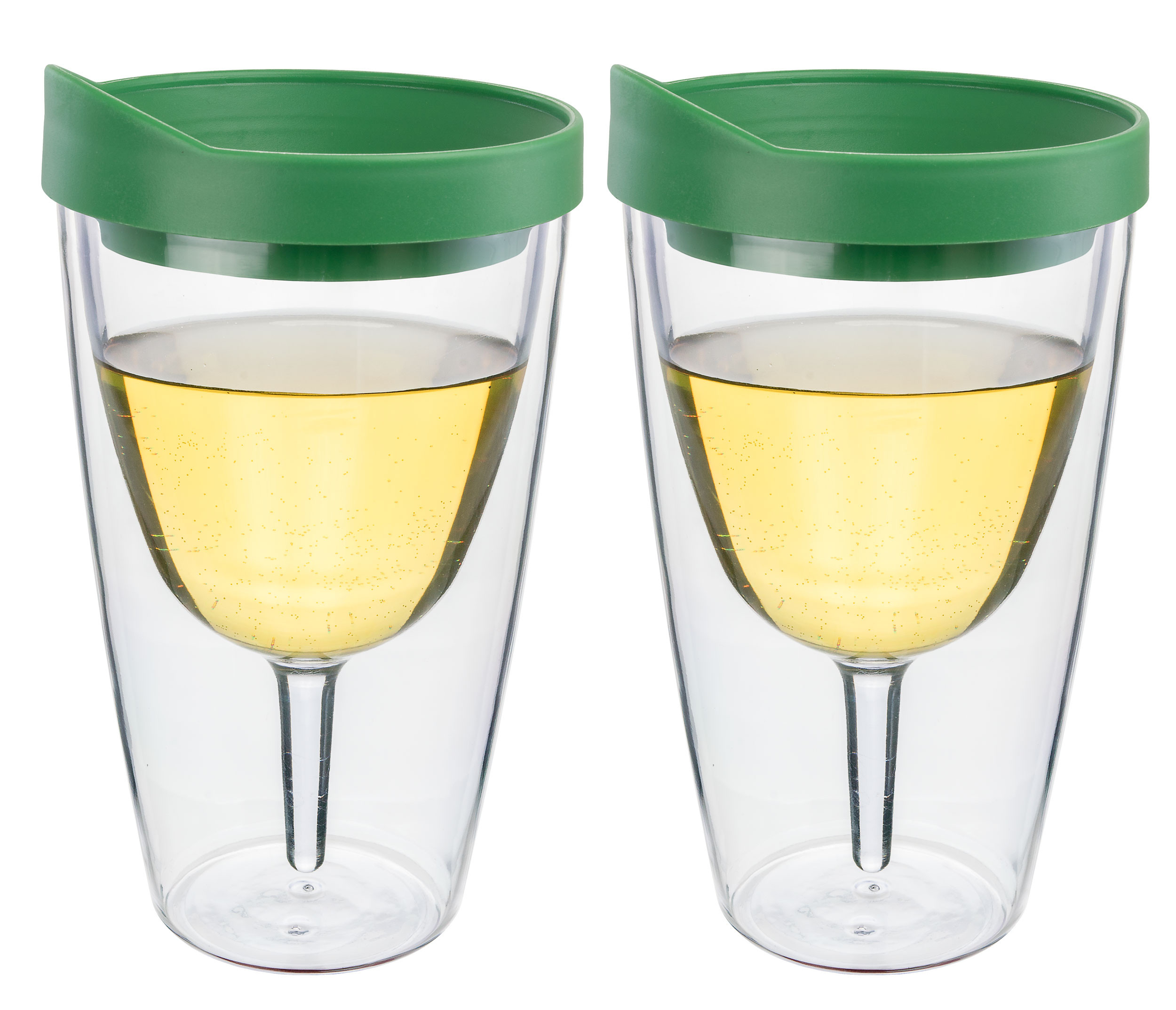 Verde Green Insulated Wine Tumbler - Double Wall Acrylic 2 Pack