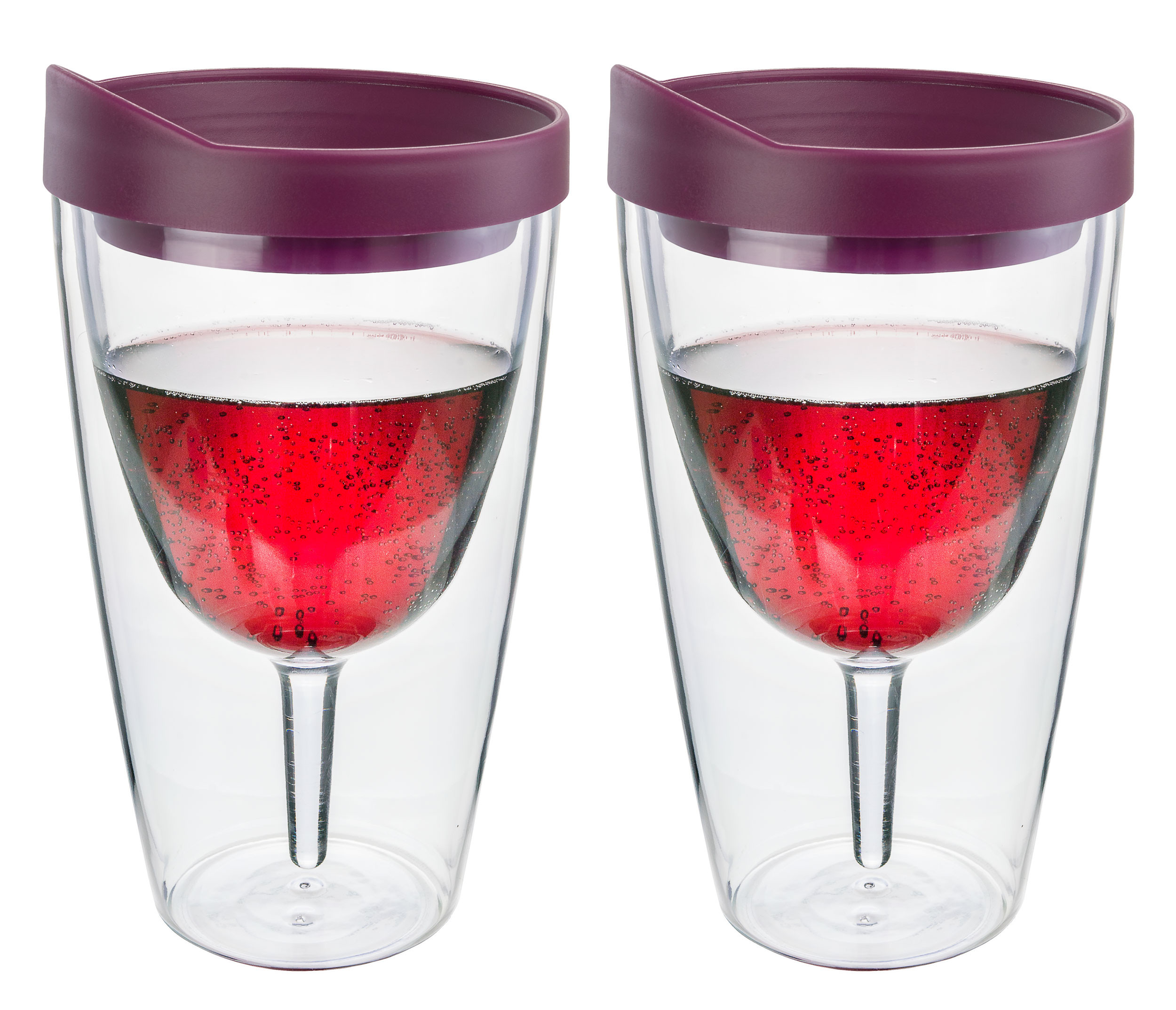 Merlot Insulated Wine Tumbler - Double Wall Acrylic 2 Pack
