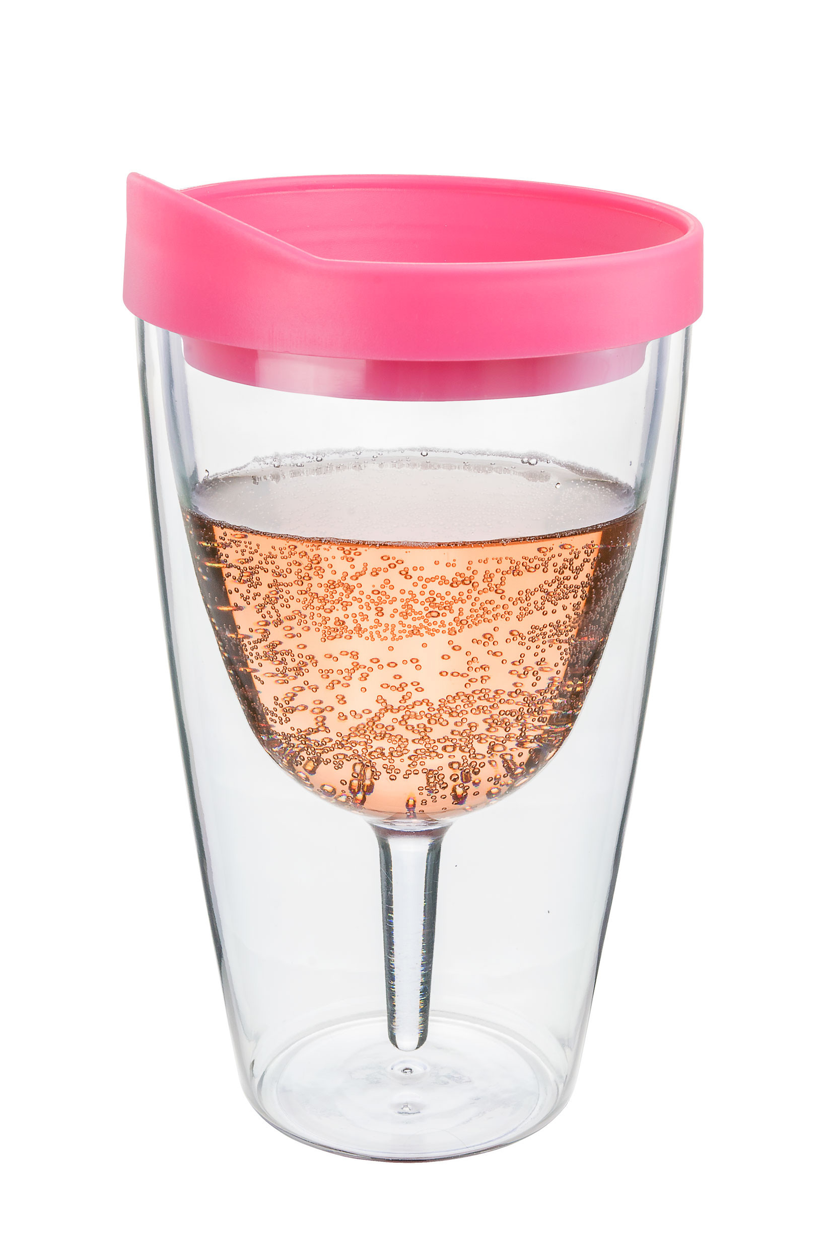 Pink Insulated Wine Tumbler - Double Wall Acrylic