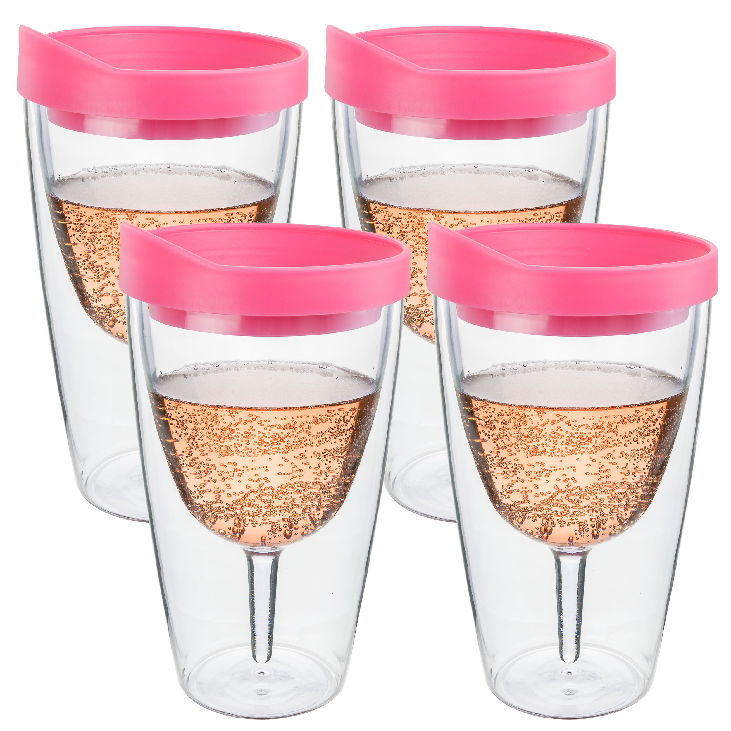 Pink Insulated Wine Tumbler - Double Wall Acrylic 4 Pack