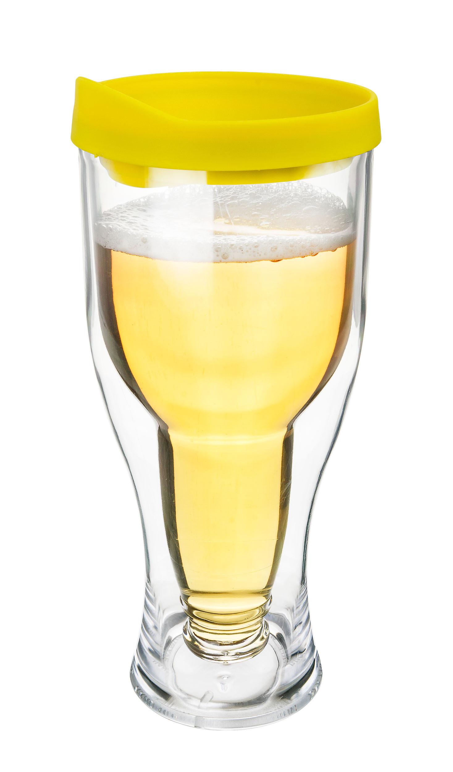Beer Tumbler w/ Yellow / Gold Lid - Double Wall Acrylic - 14oz