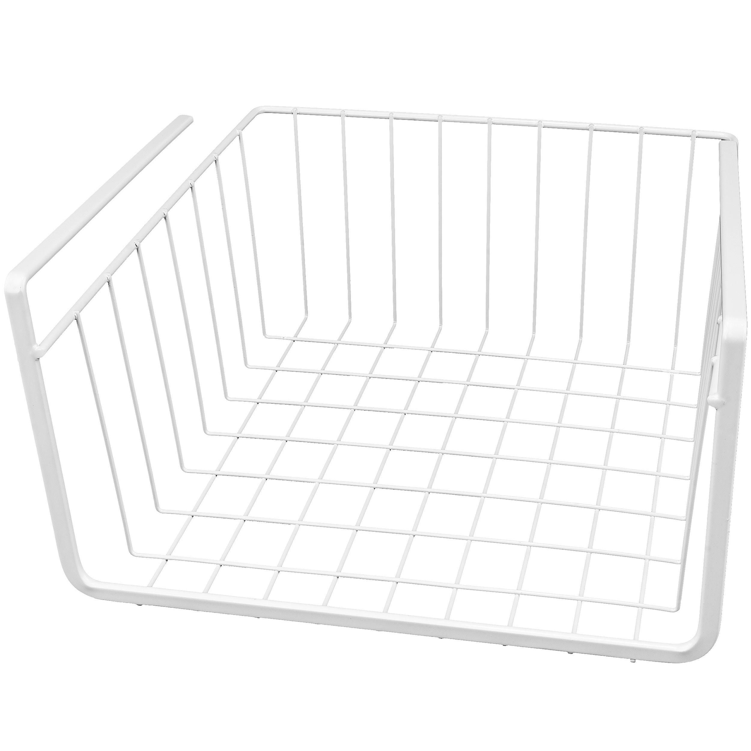 """White Wire Under Shelf Storage Organization Basket, 10"""""""