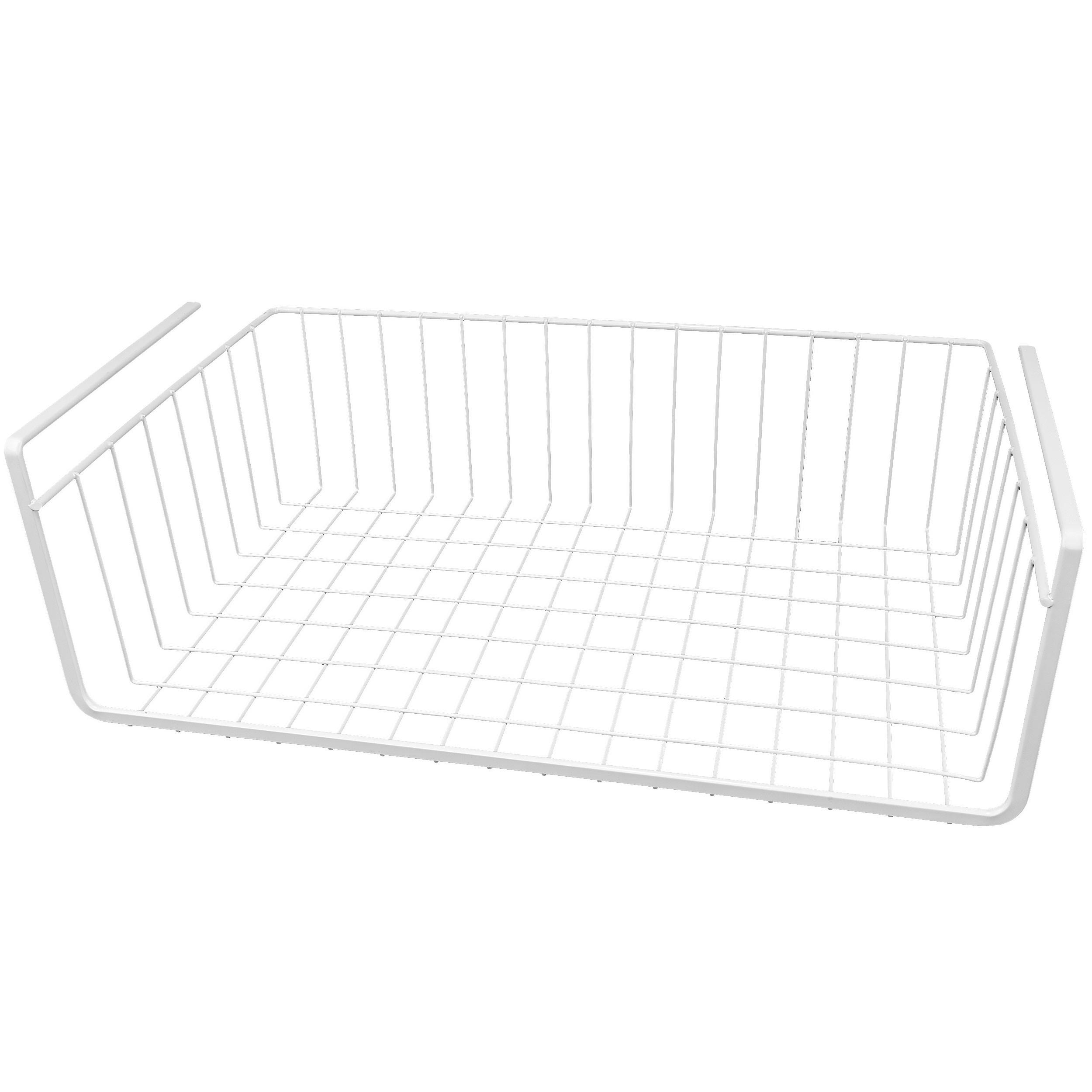 """White Wire Under Shelf Storage Organization Basket, 17"""""""