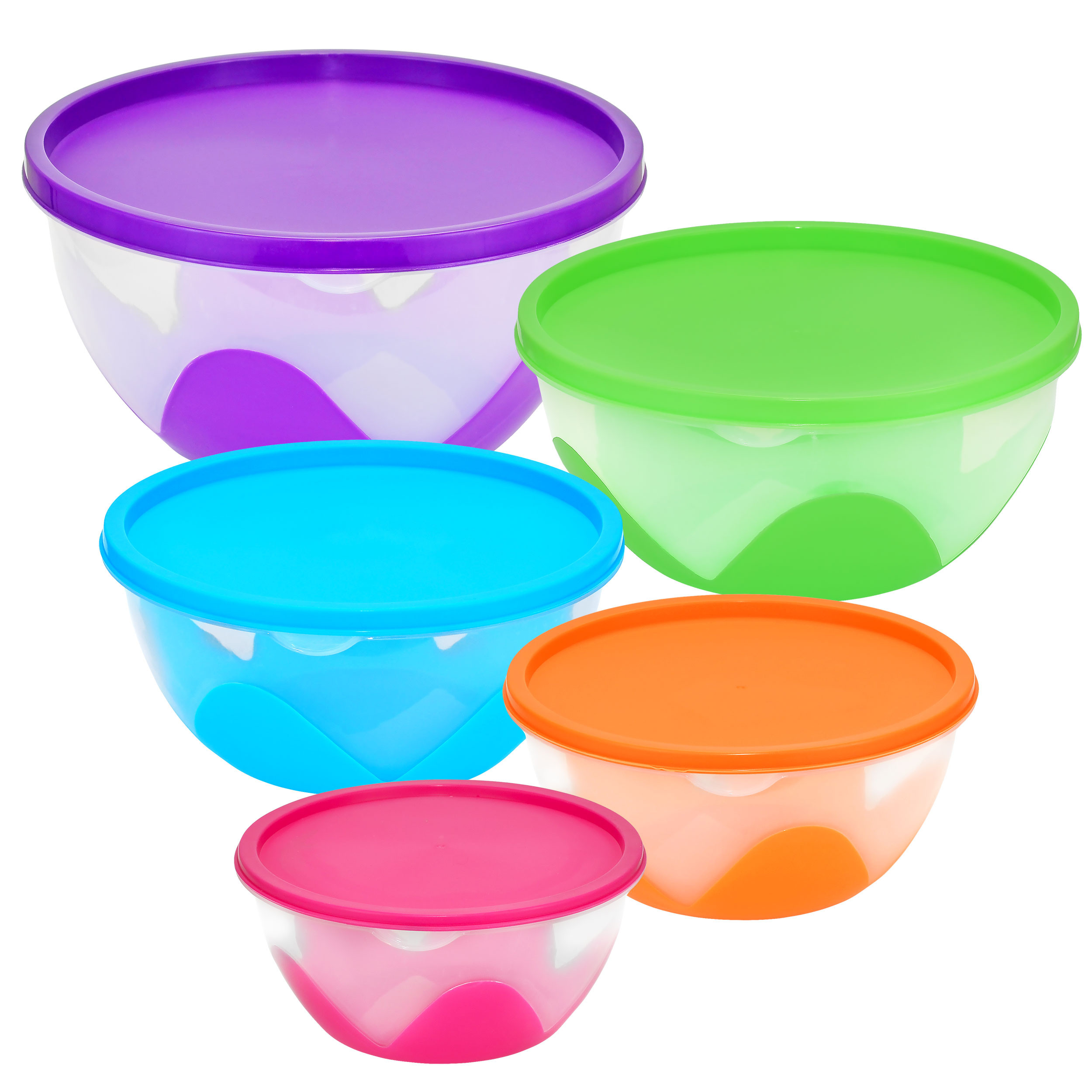 Nested & Stackable Bowl / Food Storage Containers, 5 Piece Multi-Purpose Set
