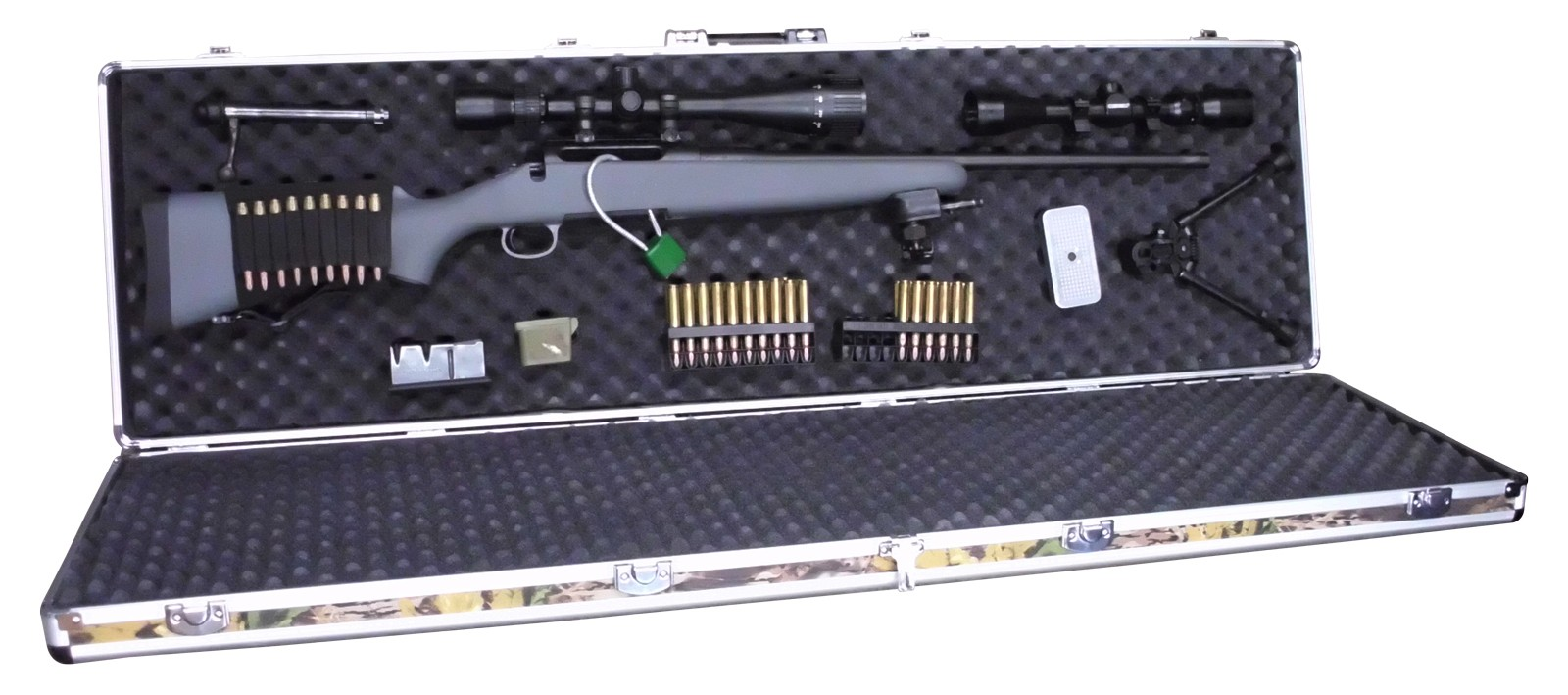 Double Rifle Aluminum Camo Gun Case