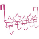 Over The Door 5 Hanger Hooks Storage Organizer Rack, Pink Stars